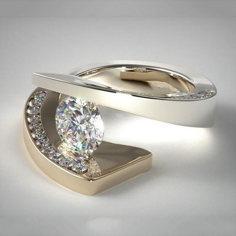 Unique Wedding Ring.Delicate Unique Wedding Ring Inlaid White Zircon Charm Gold Color Separation Rings For Women Fashion Banquet Party Bride Jewelry Xk116