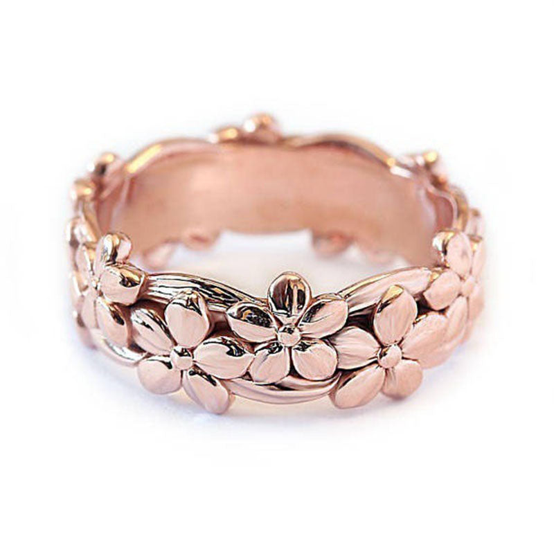Fashion Party Ring Plum Blossom Flower Rings Finger Accessories Gold Ring  Jewelry Dropshipping Birthday Gift FRING136