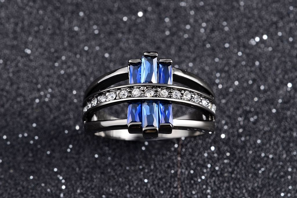 Size 610 Blue Sapphire Womens Wedding Rings R0009 Prcolux Jewelry