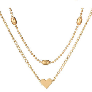 e5089db412 Fashion Love Heart Choker Necklace for Women Multi Layer Beads Chocker  Necklaces Collier Lovers Gift Choker