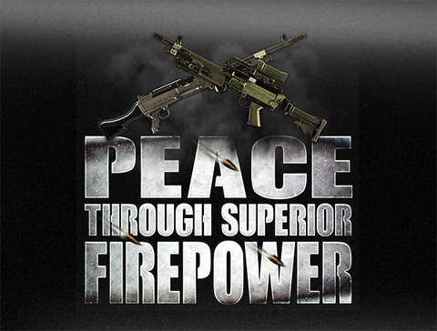 Peace Through Superior Firepower C9/C6 Machine Gun Vehicle Bumper Sticker