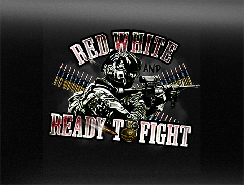 Red, White & Ready To Fight Vehicle Bumper Sticker
