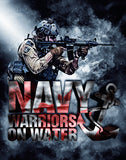 Navy Warriors On Water Poster