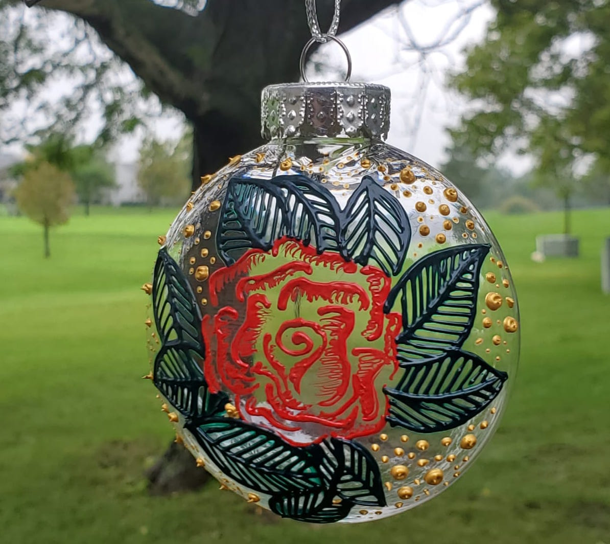 Hand painted christmas ornament - Rose - Henna Studio