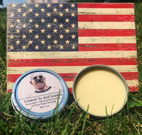 Locked Up and Loaded Beard Balm - Gunpowder Scented Beard Balm 2 oz - Rose Buds Chicago