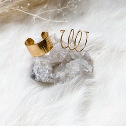 Thick Gold Cuff + Spiral Ring Set