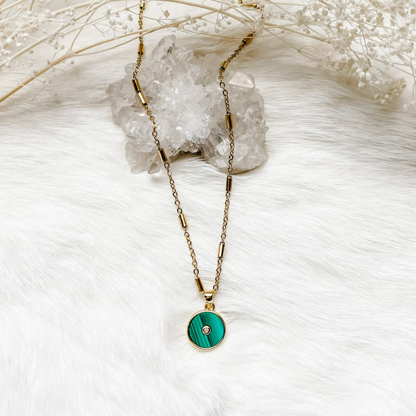 Malachite Coin Necklace