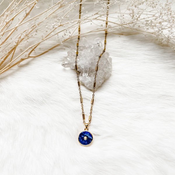 Lapis Coin Necklace