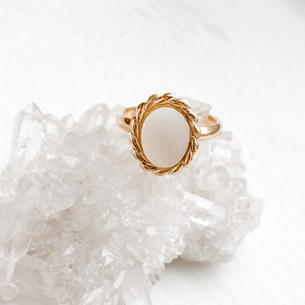 Modern Vintage Large Oval MOP Ring - Adjustable Size 6-8