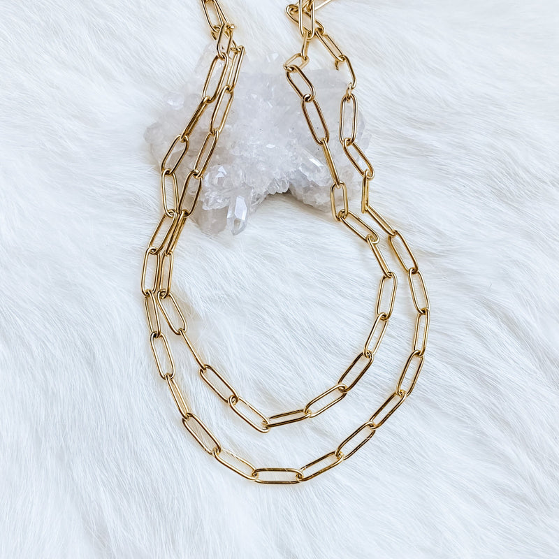 Layered Paperclip Necklace 14-16""