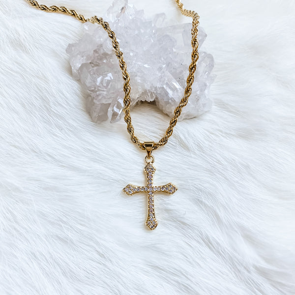 Pave Cross Necklace 20-22""