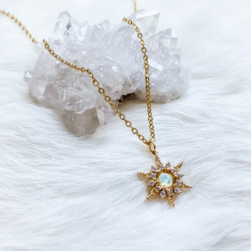 Opal Star Necklace 17-19""