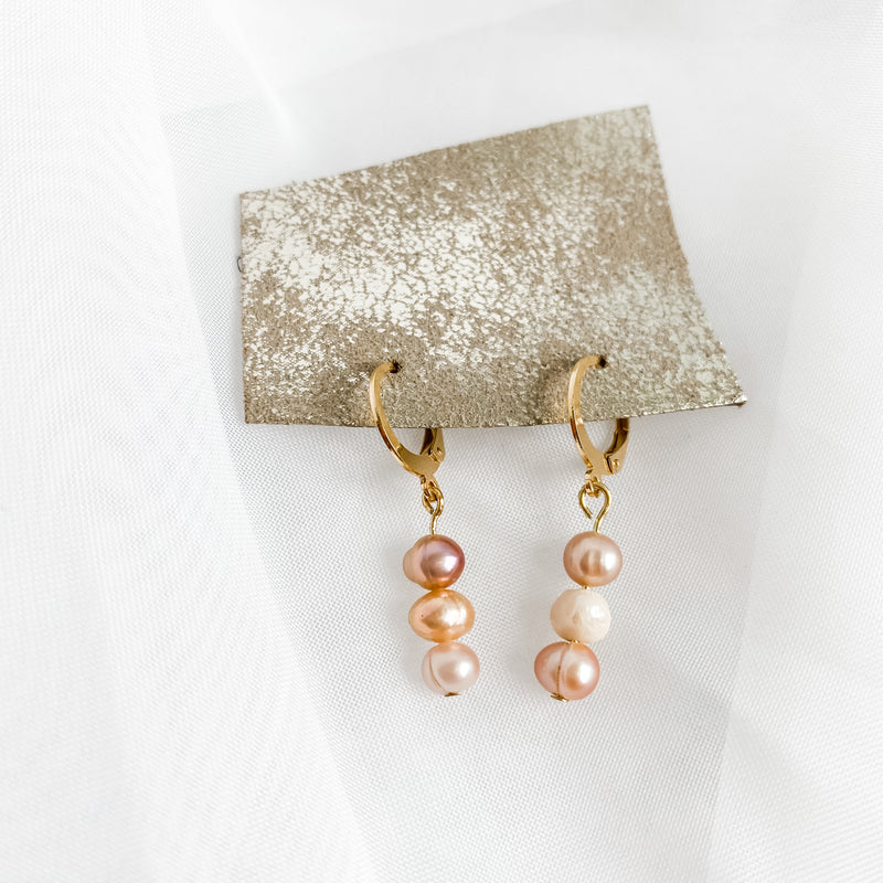 Blush Freshwater Cultured Pearl Huggies