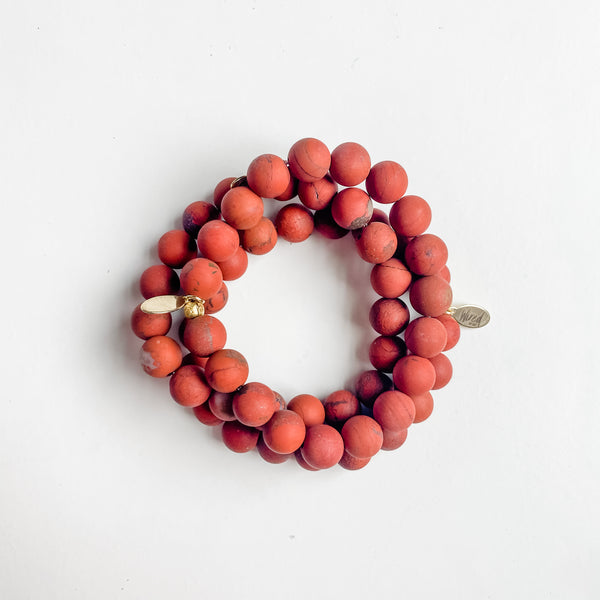 Matte Red Jasper Gemstone Bracelet