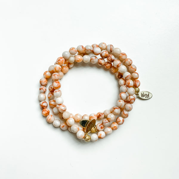 Orange and White Striped Agate Gemstone Bracelet