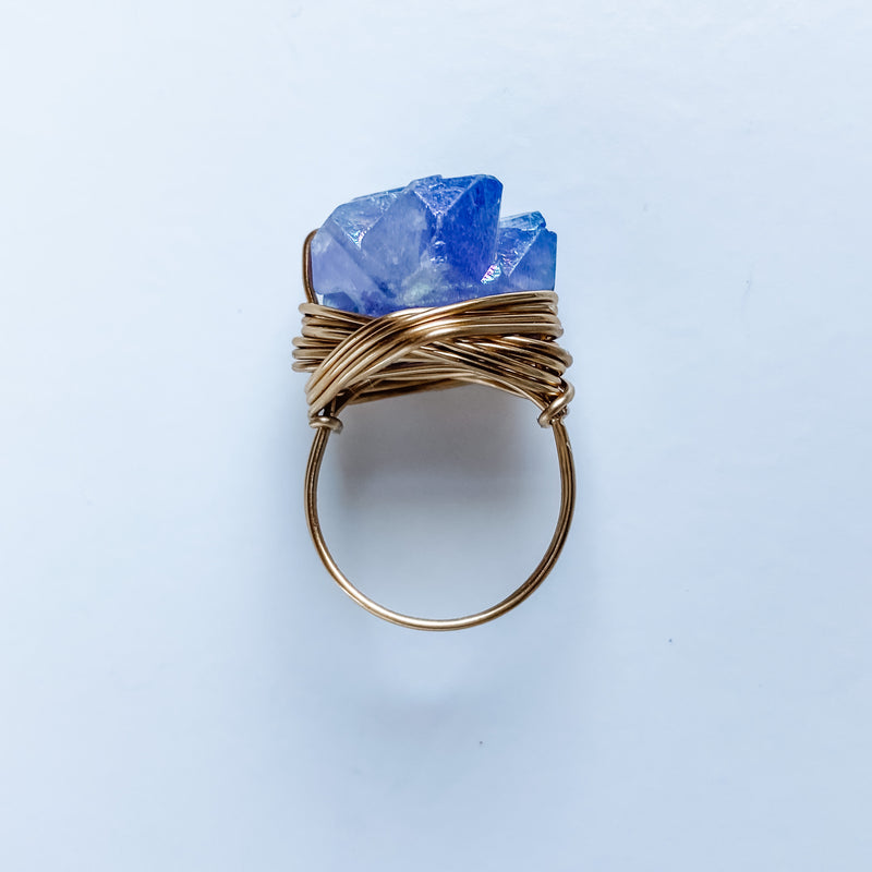 Blue Grey Electroplated Quartz Ring