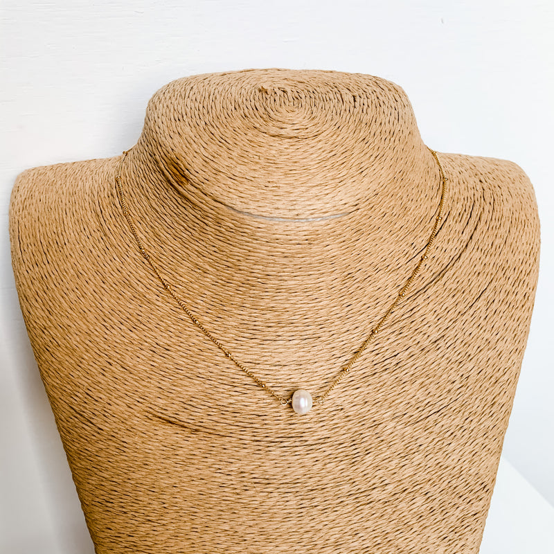 14K Gold Filled Natural Pearl Collar Necklace