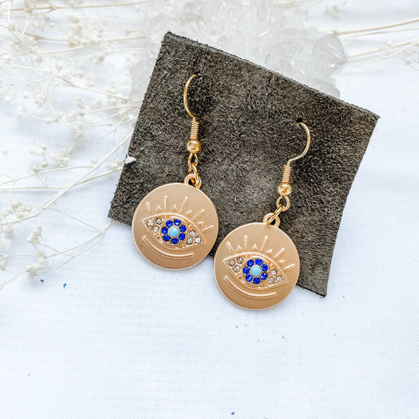 Evil Eye Coin Earrings