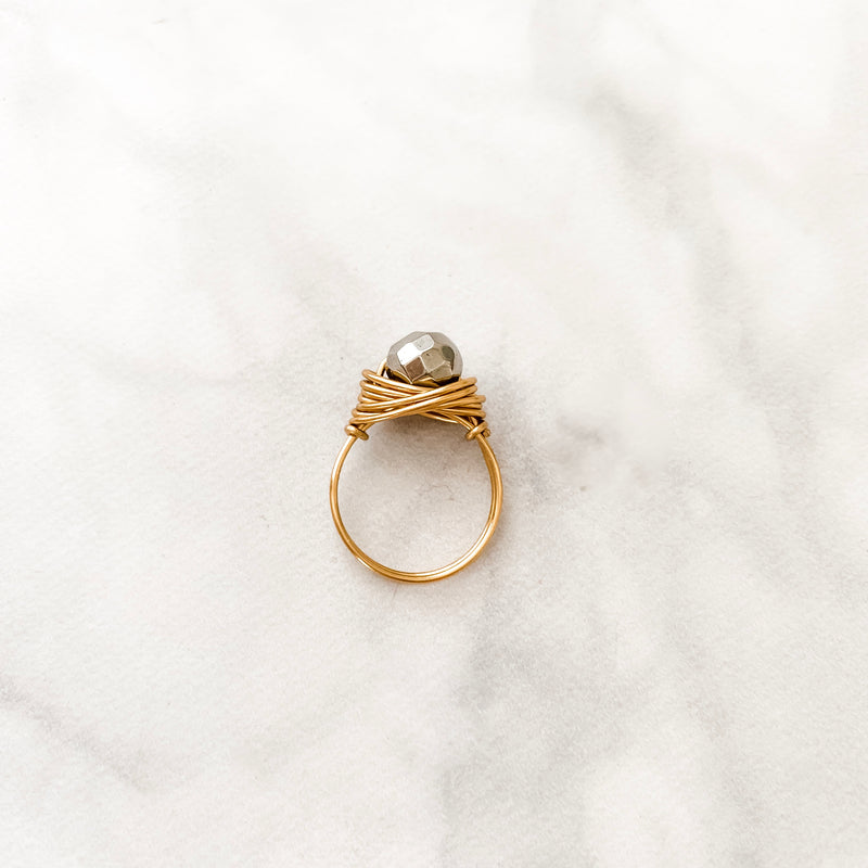 Faceted Silver Pyrite | Ring