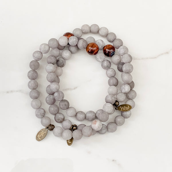 Matte Grey Jade + Red Tiger Eye Unisex Bracelet