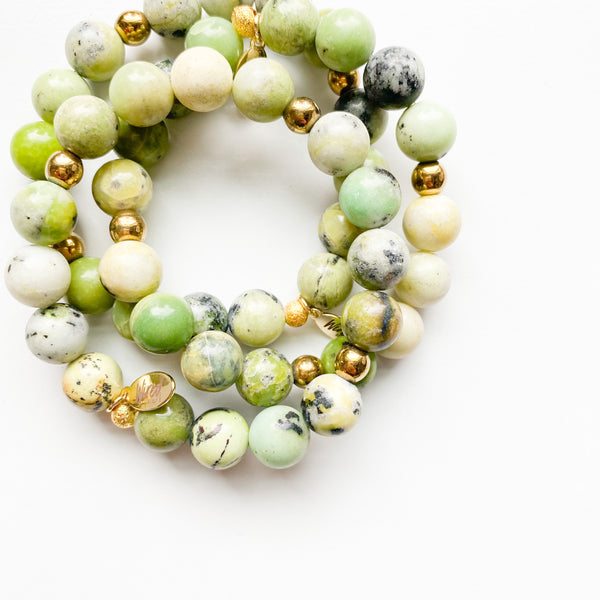 Green Spotted Agate Gemstone Bracelet