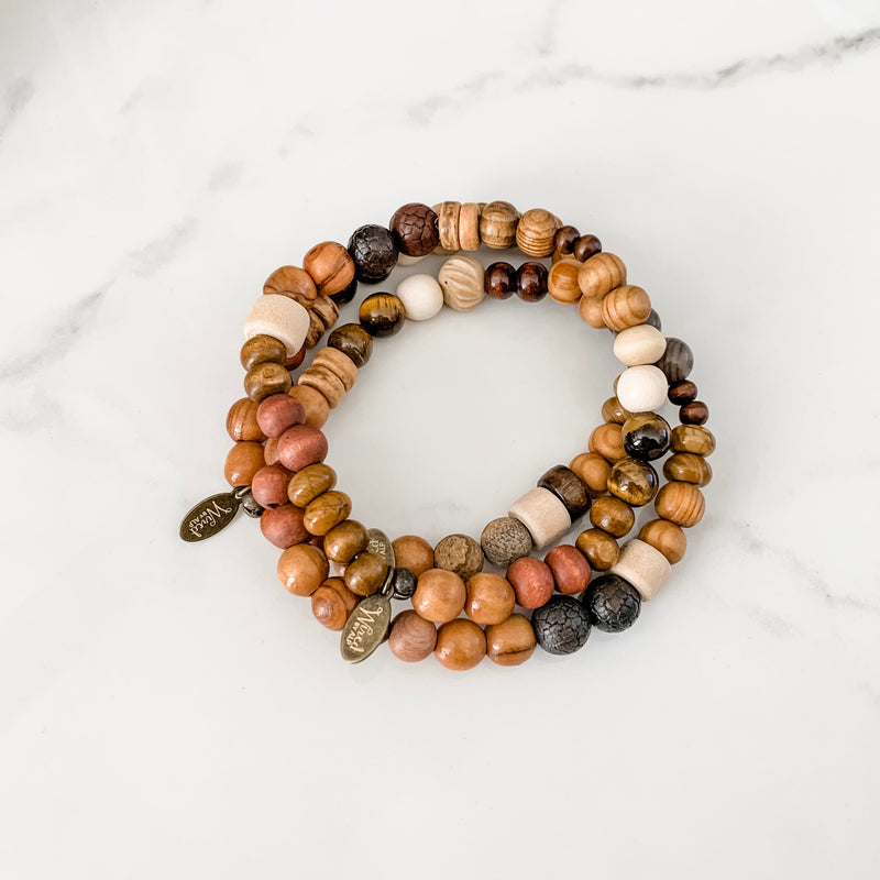 Wood + Stone Mixed Unisex Bracelet