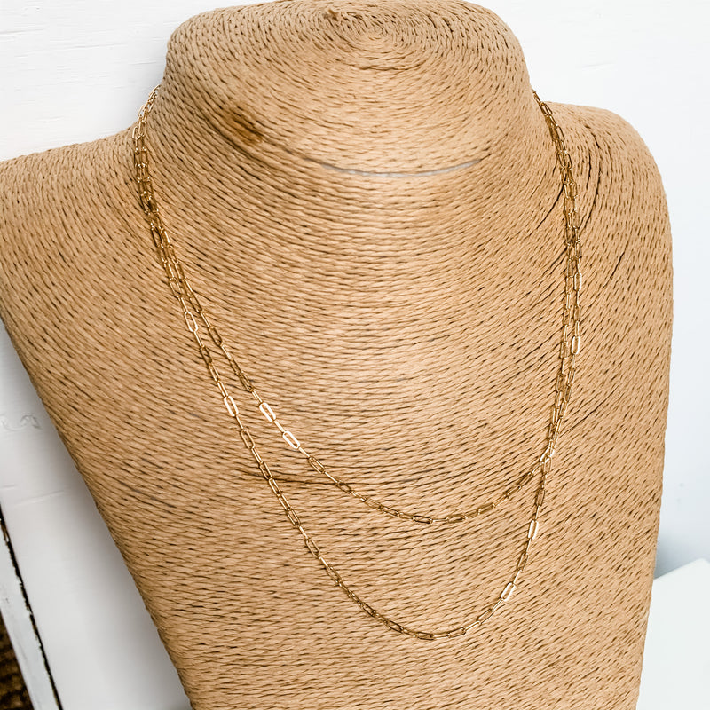 14K Gold Filled Long Link Layered Necklace 16/18""