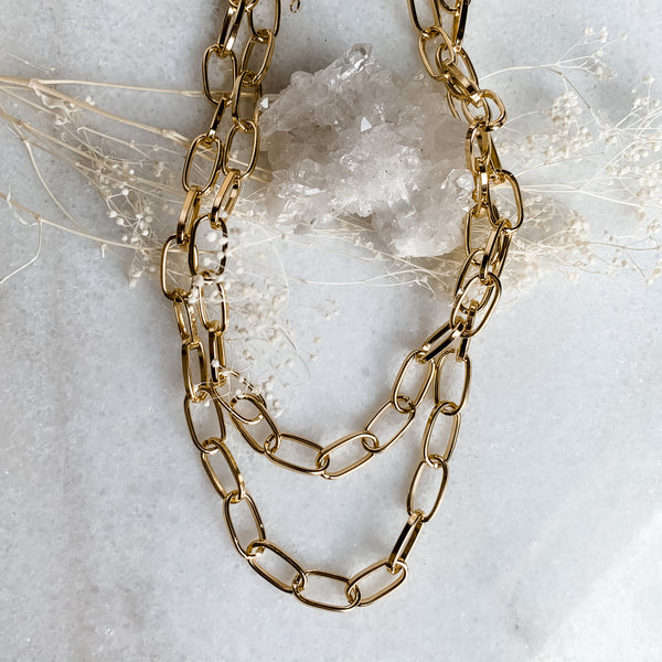Layered Link Chain Choker 14-16""