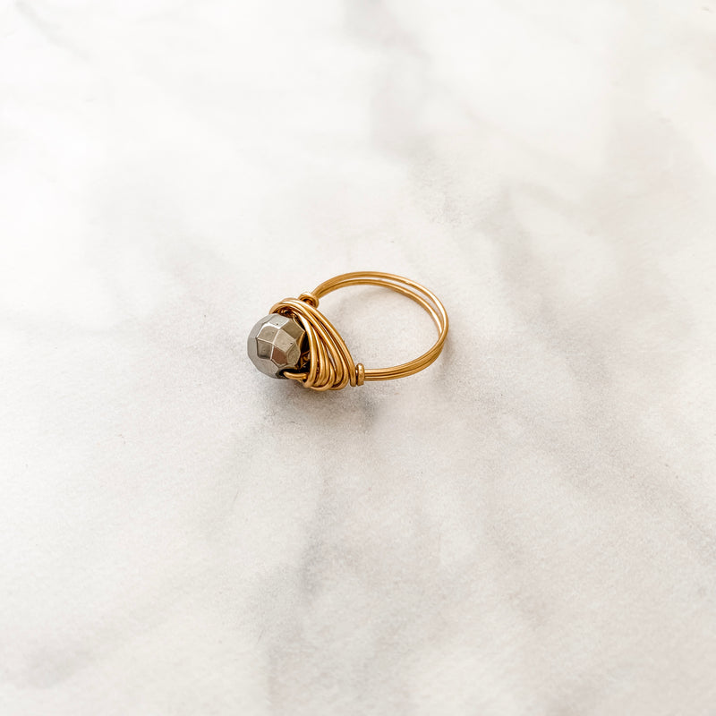 Faceted Silver Pyrite Ring