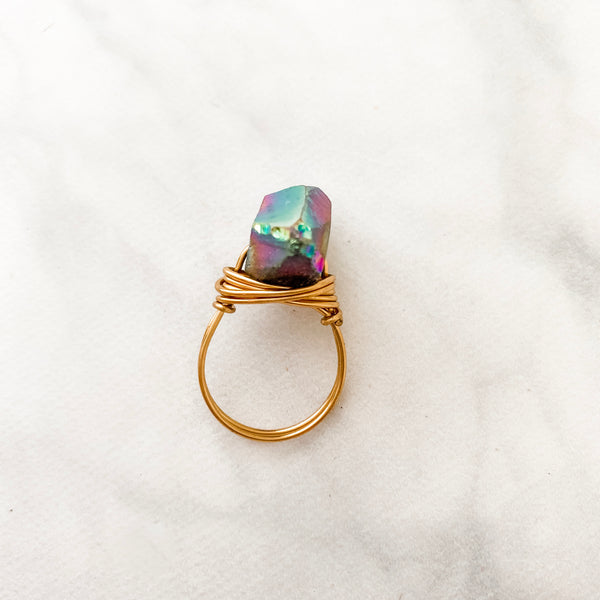 Electroplated Quartz Point | Ring
