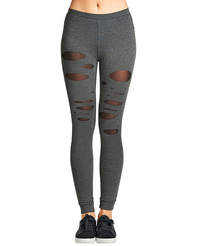 Raw ladder cutouts stretch-knit athletic leggings - Bougie LV
