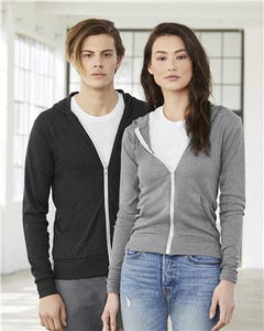 Unisex Triblend Lightweight Full-Zip Hooded Long Sleeve Tee