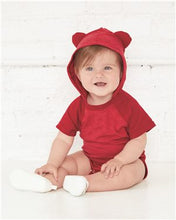Load image into Gallery viewer, Fine Jersey Infant Short Sleeve Raglan Bodysuit with Hood & Ears