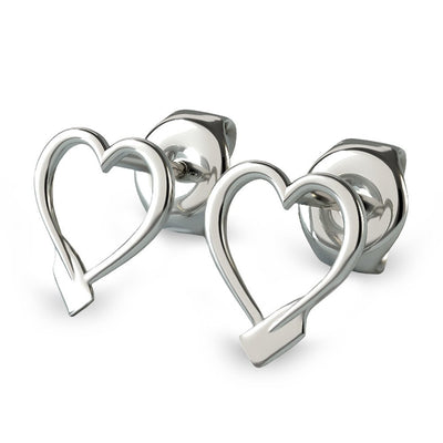 Rowing Heart Stud Earrings