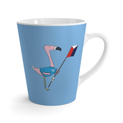 Peggy The Flamingo Latte mug - Light Blue