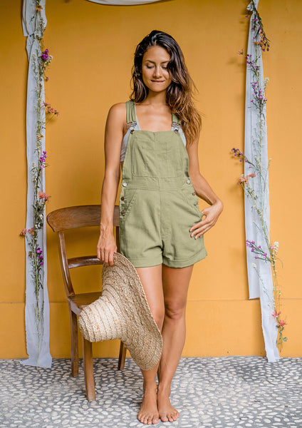 Green Eyes Shortie Linen Overalls