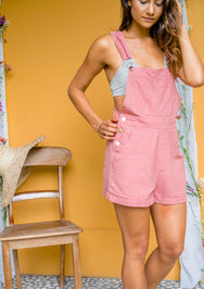 Dusty Pink Shortie Linen Overalls