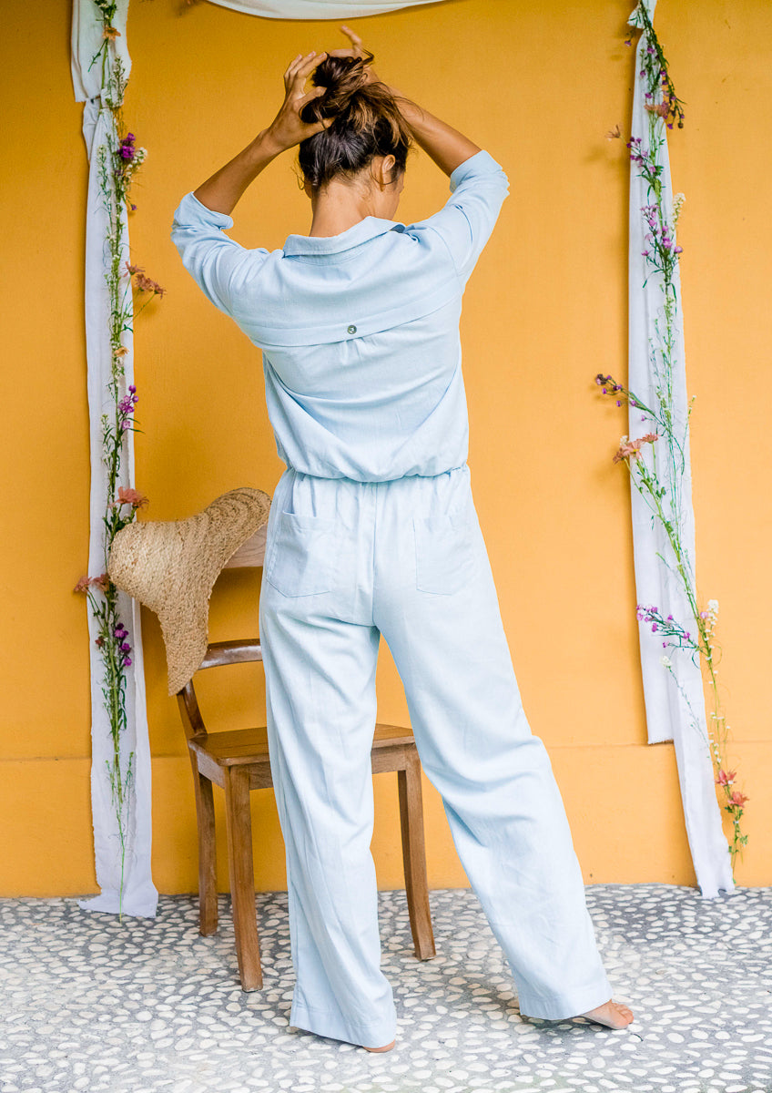 Powder Blue Linen Jumpsuit
