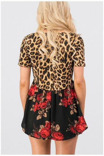 Leopard/Floral Baby Doll Top