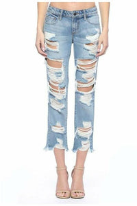 Cello Distressed Boyfriend Light Denim Jeans