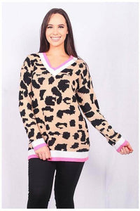 Leopard Print Sweater w/Pink & White Trim