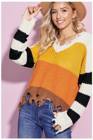 Candy Corn Color Block Raw Hem Sweater