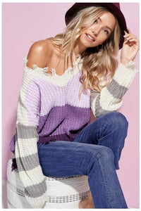 Purple Haze Color Block Raw Hem Sweater