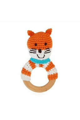 Fox Wooden Teether Ring Rattle