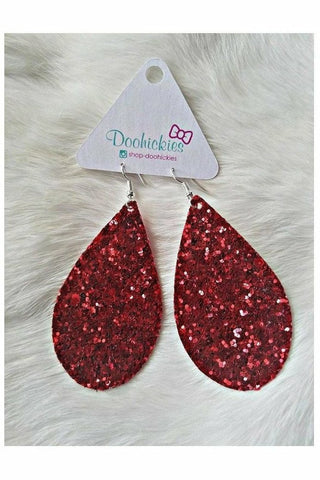 Red Chunky Glitter Teardrop Earrings