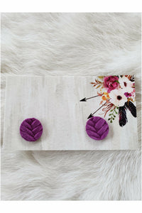 Purple Fishtail Braided Italian Leather Stud Earrings