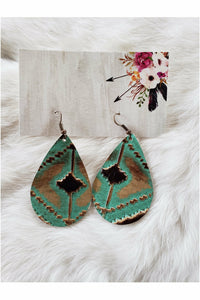 Navajo Aztec Tribal Embossed Chunky Leather Teardrop Earrings