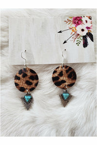 Leather Leopard Small Circle Earrings with Rustic Turquoise Arrows