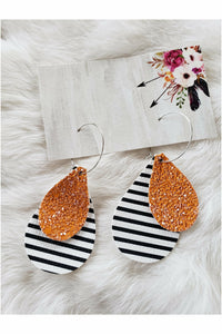 Black/White Stripes & Orange Glitter Stacked Teardrop Earrings