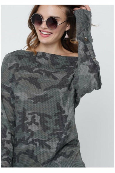 Camo Off Shoulder Buttoned Sleeve Waffle Top